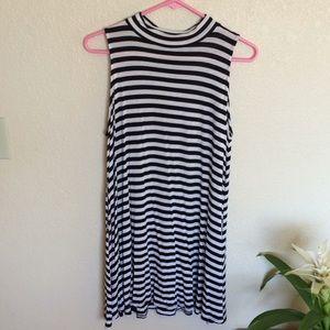 Black and White Sheath Striped Dress